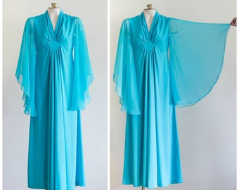 1970s blue empire waist gown with long belled sheer chiffon sleeves