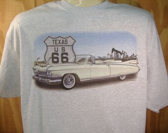 Cadillac '59-'60 Caddy Convertible Classic Car Route 66 T-shirt 100% Cotton S-XXXL
