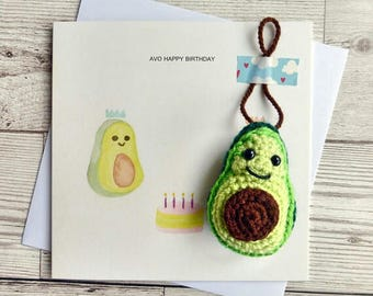 Avocado Birthday Card - Crochet Amigurumi Avocado - Vegan Birthday Card  -Avocado Birthday Card - Avocado Ornament - Vegan Birthday Gift