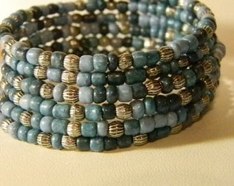 Blue Variegated Seed Bead Memory Wire Bracelet