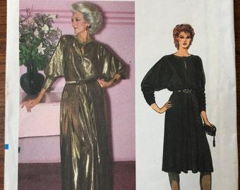 "RARE 1980s Vintage VOGUE Very Easy Vogue 8521; ca. 1980s; Arlene Dahl - Misses' Dress. Dress, 3"" below mid-knee or evening length,"