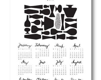 "Printable Calendar 2017, DIY,Planner, Wall/Desk Calendar,Agenda,Digital,JPG, Contemporary Design Calendar with Calligraphy:""Vases"""
