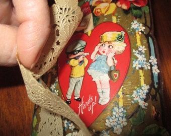 Vintage Robber and Girl Hold Up Valentine.  Cute 1920's with lace doiley.  Made in USA.