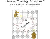 Number Maze Puzzles Count by Numbers 1-5 Educational Instant Download