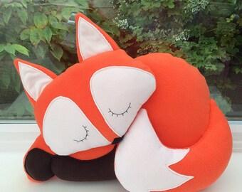 Fox cushion soft toy / fox pillow / cushions for kids / fleece cushion / novelty cushions / decorative cushions / animal cushion /