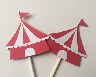 Circus Tent Cupcake Toppers // Cupcake Toppers // Circus Party // Circus Toppers