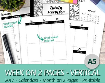 A5 - 2017 Week on 2 Pages Vertical, Monthly Planner, Erin Condren, Happy Planner, Half Letter, Letter, A4 - Printable Planner Insert, PDF