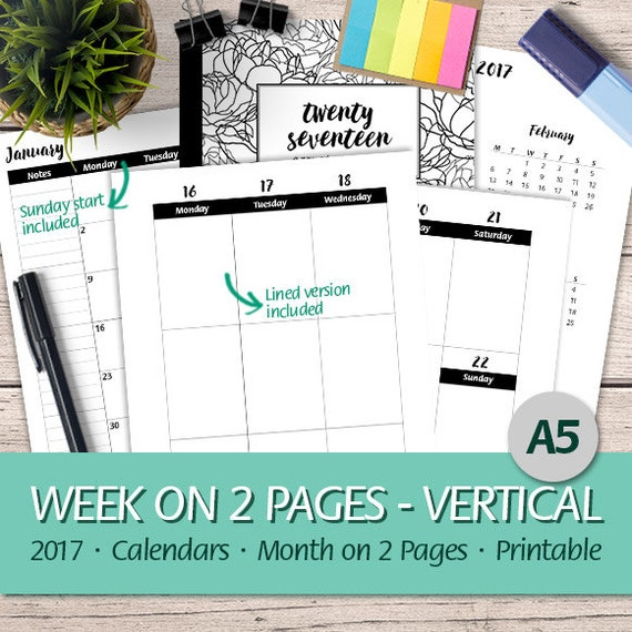 A5 - 2017 Week on 2 Pages Vertical, Monthly Planner, Erin Condren ...