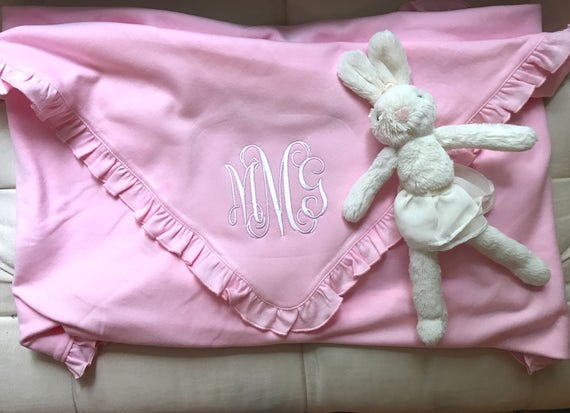 Pink Monogrammed Ruffled Cotton Baby Blanket