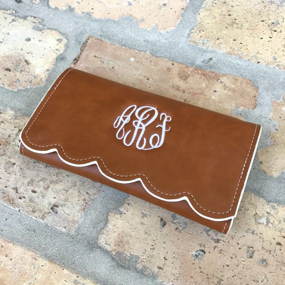 SALE - Monogrammed Scallop Edged Wallet - 3 Colors Available