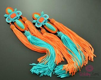 Long turquoise orange tassel earrings, turquoise earrings, extra long soutache earrings, boho turquoise fringe earrings, gemstone earrings