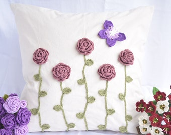 Decorative Pillow Cushion Cover pillowcase with crochet flowers and leaves, invisible zipper