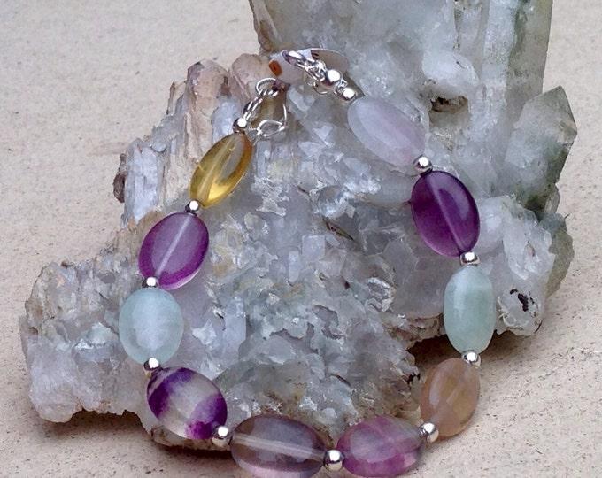Colourful Fluorite bracelet, beaded fluorite bracelet, oval beads bracelet, fluorite beaded bracelet, fluorite bracelet