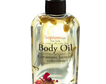 Aphrodisiac Body Oil. All Natural, Spa, Massage. Infused with Roses and Jasmine. Luxurious Hydration. Rosehip Oil, Rose and Jasmine Flowers.