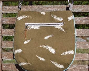 Organic Brown Feathers Small Trail Tote, Bag, Purse, Handbag - Charley Harper Fabric!