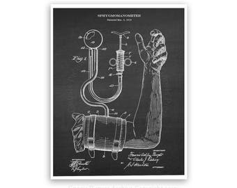 Blood Pressure cuff Patent art print #3  Chalkboard art print - medical student graduation gift- gift for nurse - doctor's office decor