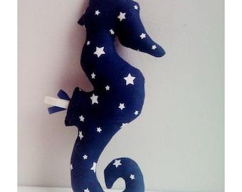 Decoration / Doudou seahorse blue night stars