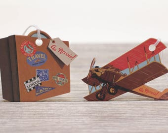 6x Travel Theme Gift Tags by Cavallini Vintage Archived Images Suitcase Airplane Biplane Baggage Tags Vintage Luggage Tags