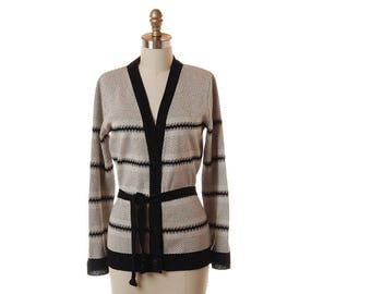 1970s Black & Gray Belted Cardigan / Vintage Black Oatmeal Boho Sweater / 70s Womens Striped Cardigan / Medium