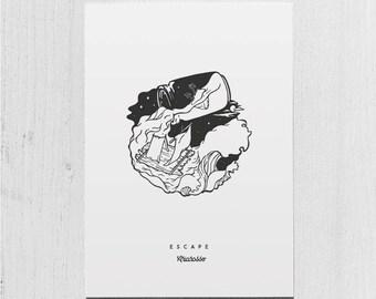 Poster Art Print - Escape Blackwork Series A5 Size - Waves Raft Sea Desert Jar Island Moon Night Ocean - Worldwide Free Shipping