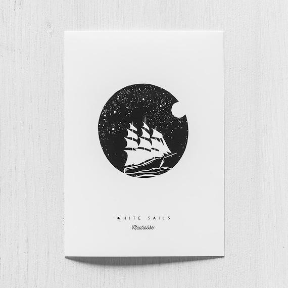 Poster Art Print - Black Sails Blackwork Series A5 Size - Sails Moon N...
