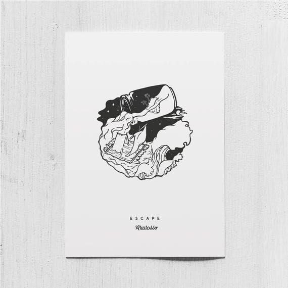 Poster Art Print - Escape Blackwork Series A5 Size - Waves Raft Sea De...