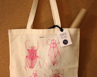Insect tote bag, hand printed market bag, linnen bag