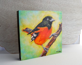 Oriole Print 6x6 on Wood Block Ready-to-Hang Baltimore Oriole Bird Art from Original Acrylic Painting