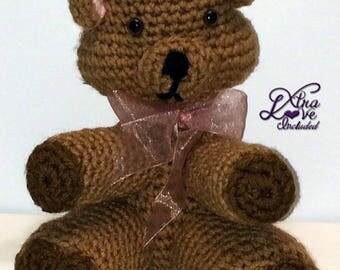 Tan Crochet Bear, Stuffed Bear, Crochet Animal, Teddy Bear, Plush Bear, Stuffed Bear, Toy Bear, Crochet Bear, Brown Bear