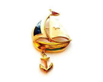 Vintage Avon Gold and Enamel Sail Boat Pin, Brooch