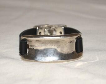 Man leather bracelet,Women leather bracelet,black leather bracelet, special design ,vintage bracelet.
