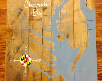Chesapeake Bay Map Pallet Wood