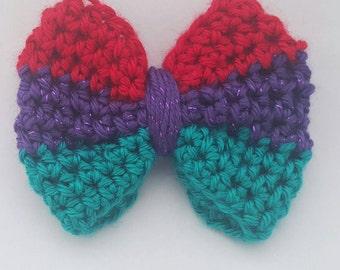Little mermaid bow, crochet bow, hair accessory,  Ariel inspired bow, mermaid hair bow, hair bow, crochet little mermaid bow