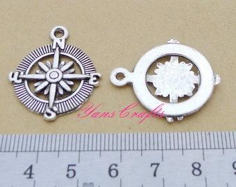 BULK 20 Compass Charms Antique Silver Charms - DM2309