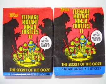 VINTAGE! 1991 Topps Teenage Mutant Ninja Turtles II Lot of 2 Trading Card Packs