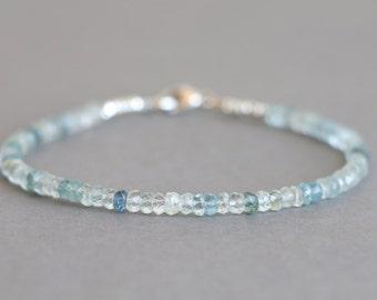 Aquamarine Bracelet Beaded Bracelet March Birthstone Gemstone Bracelet