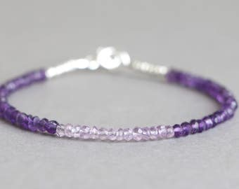 Amethyst Bracelet Beaded Bracelet Pink Amethyst Bracelet Gemstone Bracelet  February Birthstone