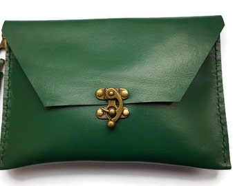 Leather clutch bag - forest green