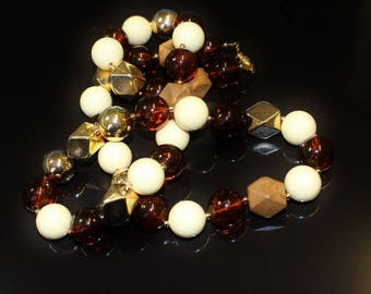 Vintage Long Bead Necklace Black Rhino Design Single Strand Large Round Amber & Ivory and Gloss Gold and Wood Look Angled Beads Nice Colour