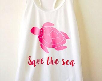 SAVE THE SEA tank tops, sea turtle shirts, save the sea turtles, sea turtle rescue
