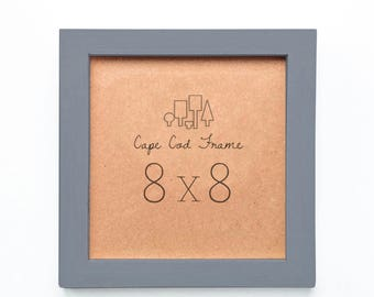 8x8 Picture Frame. Slate Gray 8x8 Frame.  Solid Wood - Perfect Frames For Instagram Prints