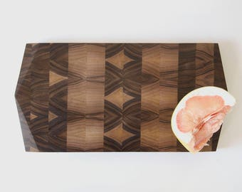 Geometric End Grain Cutting Board — Black Walnut