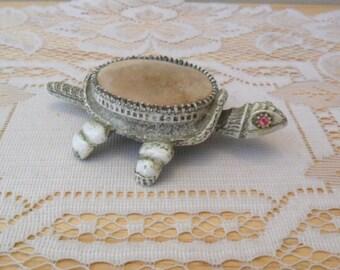 Vintage FLORENZA Turtle Nodder Pin Cushion Rhinestone Eyes