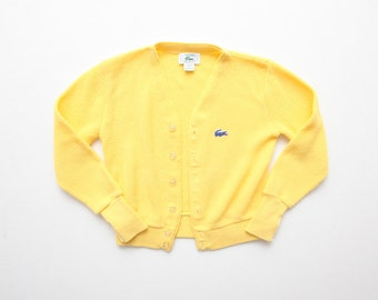Adorable Kids Vintage Lacoste Lemon Yellow Cardigan Sweater Size 8