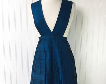 Blue Jumper Dress with Pleated Skirt