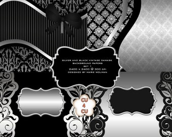 Silver Damask Background Papers, Digital Scrapbooking, Satin Silver and Black Scrap Kit Papers, CU, CU4CU
