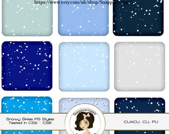 CU4CU, Photoshop Styles, PS Styles, Photoshop, Digital PS Styles, Commercial Use, Instant Download,  Snowy Skies PS Styles