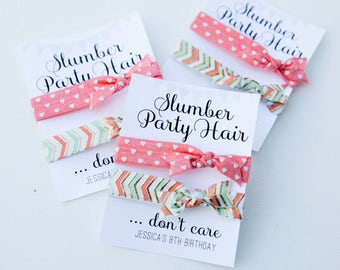 Slumber Party hair ties, Birthday Party Favors, Kids Party Favors, Fun Kids Gifts, Little Girl Birthday, slumber party hair don't care