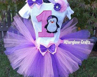 Penguin Tutu, Penguin Birthday Tutu Set, Birthday Penguin Tutu Outfit, Birthday Penguin Outfit, Winter Penguin Tutu Birthday Outfit, Penguin