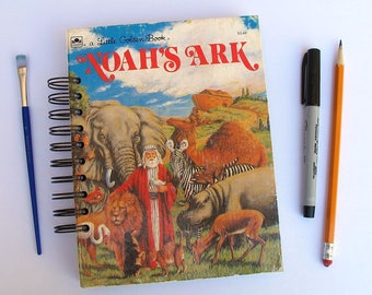 Noah's Ark altered Little Golden Book journal, Bible story book journal, Noah's Ark guest book, prayer journal
